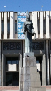 Close up of statue in front of Philharmonic Hall