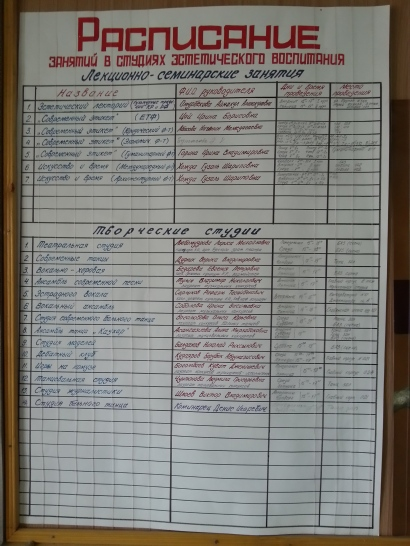 Handwritten timetable [ru] at the Yeltsin Kyrgyz-Russian Slavonic University, Bishkek, Kyrgyzstan