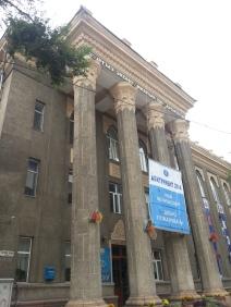 """Welcome New Students, 2014"" poster outside Kyrgyz Economic University, Bishkek, Kyrgyzstan"