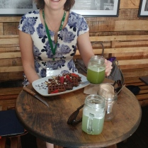 Vegan chocolate waffles and green juice!