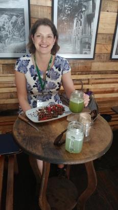 Vegan chocolate waffles and green juice!