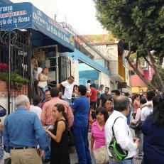 Huge line up outside a seafood restaurant