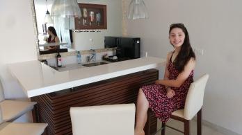 Aliya at the bar (she didn't drink anything)