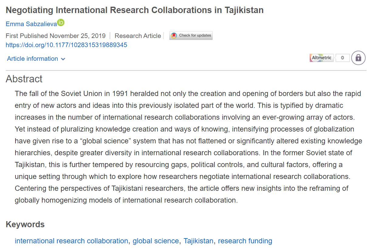 Sabzalieva - Tajikistan article screenshot published Nov 25 2019