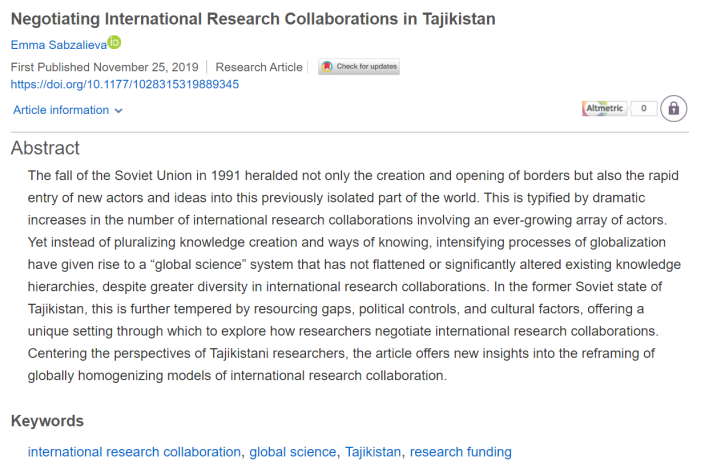 Sabzalieva - Tajikistan article screenshot published Nov 25 2019